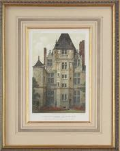 New Fine Art Giclee Print, Ancient French Manor, Hand Colored, Repro Lithograph