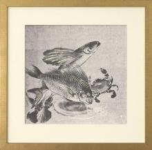 New Fine Art Print, Japanese Fish Carp Crab, Reproduction Litho 1875, Framed