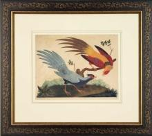 New Artwork Vittorio Ranier Reproduction Framed Wildlife Chinoiserie Bird WA-432