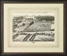 New Fine Art Reproduction, 1700s English Estate/Manor, Formal Gardens, Framed