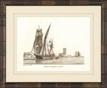 New Print Anonymous Reproduction Framed Boats Sailing Ships in Sepia Recta WA-75