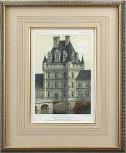 Repro Art Print, Ancient French Castle Litho, Water Filled Moat, Hand Colored