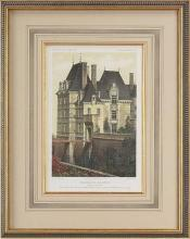 Hand Colored Fine Art Giclee Print, Ancient French Castle, Moat, 1861 Litho