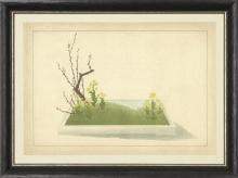 New Print Anonymous Reproduction Framed Trees Large Zen Gardens Rectangle WA-83