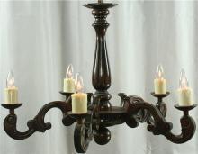 Ornate Vintage Carved Oak French Chandelier, Dark Finish, 5 Arms, Fluting
