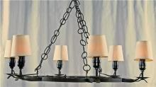 Spanish Mission Style Black Wrought Iron Chandelier, Vintage, Round, 6 Lights