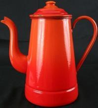 Antique French Red Orange Enamelware Kettle Pitcher