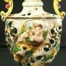 Vintage Hand-Painted Italian Capodimonte Ginger Jar Vase with Playful Children