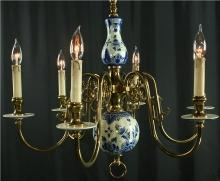 Vintage Hand Painted Blue Delft Chandelier, 1950 Holland, Scalloped Body, 6 Arms