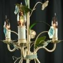 Vintage 1950 French Chandelier, Shabby Elegance/Cottage, Blue Flowers, 3 Arms
