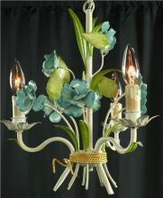 Vintage French Chandelier, 3 Arms, Shabby/Cottage, Blue Roses/Green Leaves