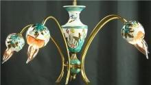 Vintage 1960 5-Arm Chandelier from Belgium, Brass, Ceramic, Aqua/Gold Accents