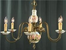 Large Vintage Capodimonte Style Chandelier, 6 Metal Arms, Cherubs/Putti, Pastels