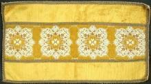 Small Vintage French Table Runner Doily Mustard Yellow Gold Velvet Brocade
