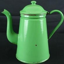 Antique French Green Enamel Kettle Teapot Pitcher
