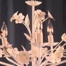 Petite Vintage French Country Painted Chandelier, 5 Arm, White/Pink, Cottage