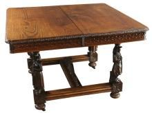 Antique Dining Table, France 1880, Brittany Fine Carved Chestnut, Figurine Legs