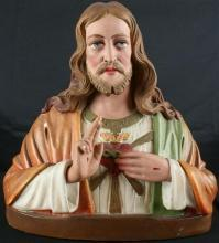 Antique French Chalkware Bust Jesus Christ Sacred Heart