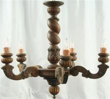 Large Vintage French Oak Barley Twist Chandelier, 5 Arms, Renaissance Style