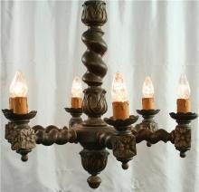 Large Vintage French Chandelier, Dark Oak, Carved, Hunting Style