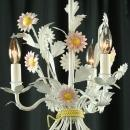 Newer Vintage French Daisy Chandelier, Shabby Style, White/Pink, 3 Arms