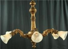 Very Large Antique Italian Gilt Oak Chandelier, Ornate Carving, 6 Glass Shades