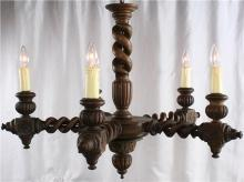 Antique Chandelier, French Hunting Style, Double Barley Twist Oak, 5 Arms, Large