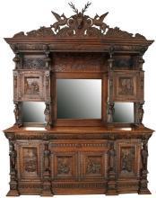 Large Antique Buffet 1880, Mechelen Carved Oak, Tavern Scenes, Stag/Lion/Gryphon