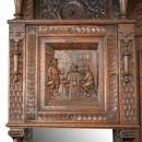 Large Antique Buffet 1880, Mechelen Carved Oak, Tavern Scenes, Stag/Lion/Gryphon