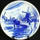 Vintage Blue Delft Plate, 1970s, Boch, Ice Skaters w/ Windmills