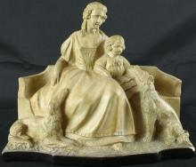 1930 Mother Child Dogs Statue, Art Deco/Mid-Century Modern Vintage Chalkware