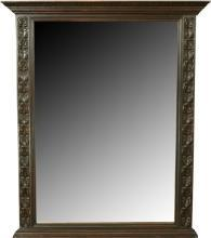 Antique French Gothic Carved Oak Mantel Mirror Frame, Large, 1880