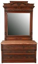 Antique Eastlake Vanity Dressing Table 1890, Red/Rose Marble, Mahogany, 5-Drawer