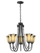 New Dale Tiffany Chandelier, San Antonio Collection 5-Light, Glass, Bronze Metal
