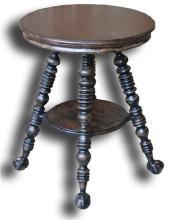 New Lamp Table Antiqued Blackwash Black Americana Stretcher Construction  BG-255