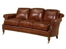 New Leather Sofa, Wood, Top Grain Leather Upholstered, Scroll Arms Antique Style