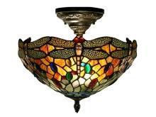 New Dale Tiffany Ceiling Fixture Dark Antique Brass Metal On/Off UL-List DY-1260