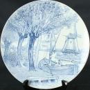 1950 Plate Royal Sphinx Boch Blue White Delft Ceramic Transferware 5-369-0