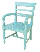 New Dining Arm Chair Painted Aqua Resin Hardwood Raffles TW-1037