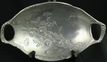 Vintage French Pewter Candy Bowl Dish Flowers Butterfly