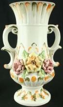 1950 Vintage Capodimonte Vase Bassano, Ceramic Flowers, Handles