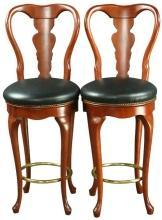 Pair Queen Anne New Bar Stools, Swivel Seats, Mahogany/Faux Leather