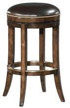 New Woodbridge Counter Stool Brown Leather Swivel Seat, Armless, Aged Birch Wood