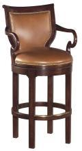 New Swivel Counter Stool, Solid Hardwood, Caramel Leather, Shepherd Hook Arms
