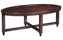 New Oval Coffee Cocktail Table, Mid-Century Havana Style, Cherry Veneer, Umber
