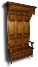 New Hall Seat With Bench Storage, French Country Oak Wood Carvings, Iron Hooks