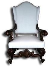 New Throne Occasional Chair Baroque Rococo Fabric Fireside Wings BG-223