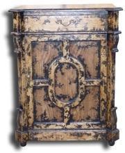 New Jam Cabinet Black Splatter Mediterranean Solid Oak 1-Door 1-Drawer BG-81