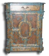 New Jam Cabinet Distressed Turquoise Splatter Mediterranean Solid Oak 1-Do BG-82