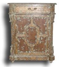 New Jam Cabinet Distressed White Splatter Mediterranean Solid Oak 1-Door 1 BG-83